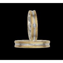 Обручальные кольца два тона 18ktt желтого золота и белого с бриллиантом модель bi242524
