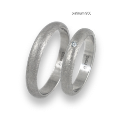 Wedding rings in 950 platinum rounded surface ice finish one diamant model pt_02-42jb