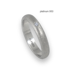 Ring in platinum 950 rounded surface ice finish one diamond model pt_jb24-20dw
