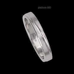 Anello / fede nuziale donna in oro platino 950 superficie rigata modello Pt_eb5330dw