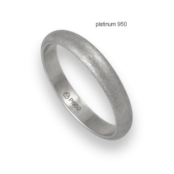 Ring in platinum 950 rounded surface ice finish model pt_jb24-20ew