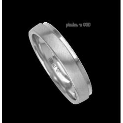 Anello / fede nuziale platino 950 bianco satinato e bianco lucido modello Pt_lb043614ew