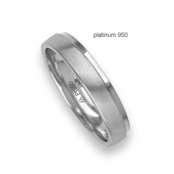 Ring / wedding ring in 950 platinum white satin and white polished model Pt_lb043614ew