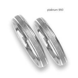 Wedding bands in platinum 950 ice finish at the center model Pt_jb240234ew_ew