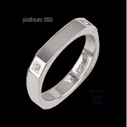 Anello / fede nuziale oro 18kt bianco lucido forma quadrata quattro diamanti modello ab537324dw
