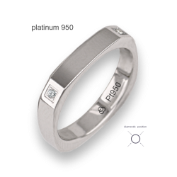 Ring / wedding bands in white gold 18k, polished finish, square shape, with four diamond model ab537324dw