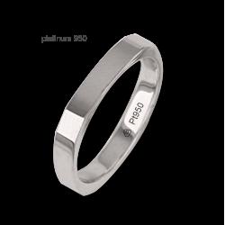 Anello / fede nuziale platino 950 superficie lucida forma quadrata quattro diamanti modello Pt_ab537324dw