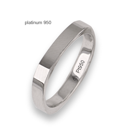 Ring / wedding rings in platinum 950, polished finish, square shape, with four diamonds model Pt_ab537324dw