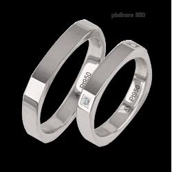 Fedi nuziali in platino 950 forma quadrata con quattro diamanti negli angoli modello Pt_ab537324ew_dw
