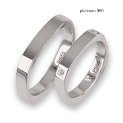 Wedding bands in platinum 950 square shape with four diamonds in the corners model Pt_ab537324ew_dw