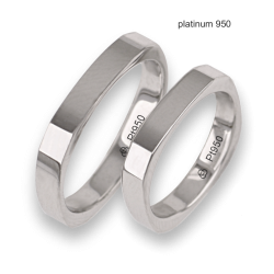 Wedding bands in platinum 950 square shape model Pt_ab537324ew_ew