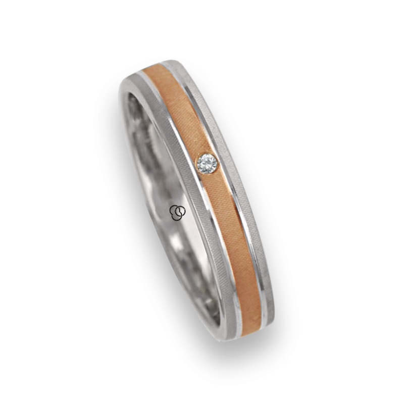Ring / wedding ring in gold 18k two-tone white and rose diamon point patterns at the center model rp343922dw