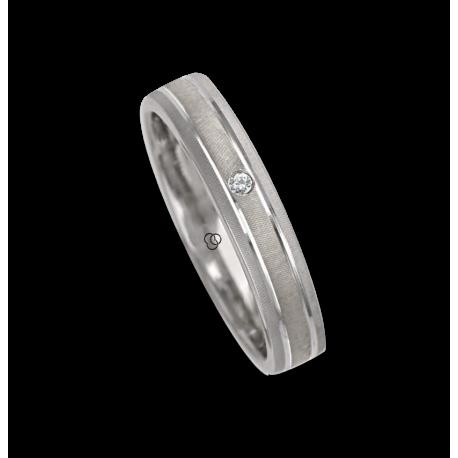 Ring / wedding ring in white gold 18k diamon point patterns finish model gb041314dw