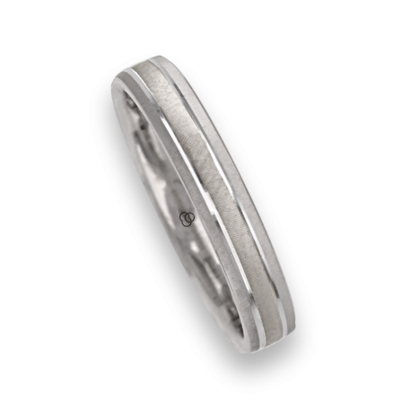Ring / wedding ring in white gold 18k diamon point patterns finish model ga041314ew