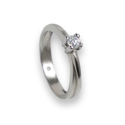 Solitaire ring in white Gold - diamond 0.17-0.20-0.23 ct - model Salvatore