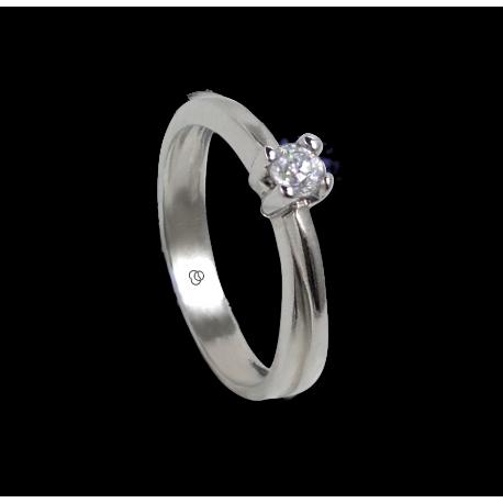 Anello solitario in oro bianco - diamante 0.17-0.20-0.23 ct - modello Salvatore