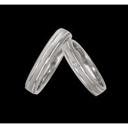 Fedi nuziali oro bianco 18kt finitura punta diamante obliqua modello gb041314