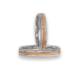 Wedding bands in gold 18k two-tone white and rose with diamond point oblique patterns model gp041314