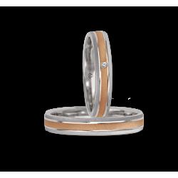 Fedi nuziali oro 18kt bicolore bianco e rosa finitura punta di diamante obliqua modello gp041314