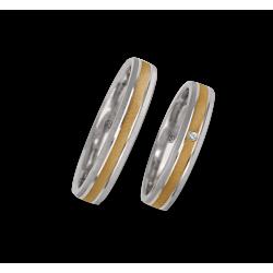 Wedding rings 18k gold two-tone white and yellow diamond poit oblique patterns model gl041314