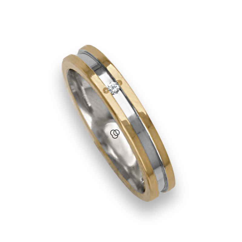 Ring / wedding ring in gold 18k two-tone yellow and white satin finish at the center model ao533524dw