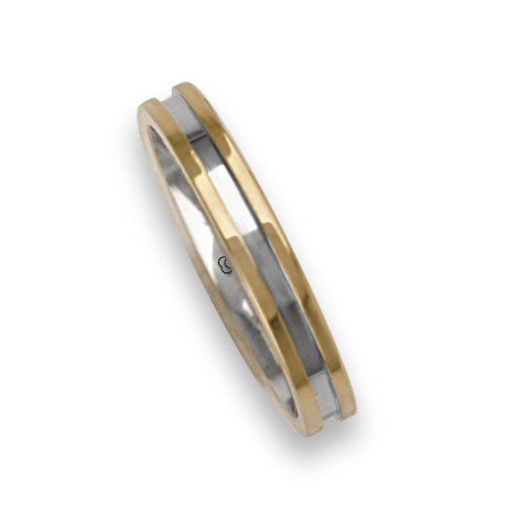 Ring / wedding ring in gold 18k two-tone rose and white satin finish at the center model ao533524ew