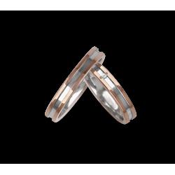 Обручальные кольца двухцветные 18-каратного золота розового и белого с двоичной центральная модель ao533524