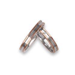 Wedding rings two-tone in rose and white gold 18k binary central model ao533524