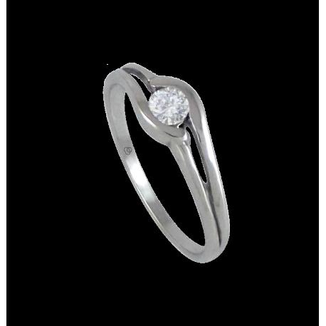 solitaire ring in white Gold - diamond 0.17-0.23 ct - model Battista