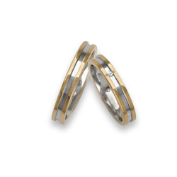 Wedding rings in two-tone 18k gold yellow and white One diamond model ao533524