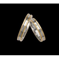 Fedi nuziali bicolore oro 18kt giallo e bianco un diamante modello ao533524