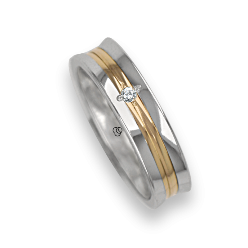 Ring / wedding ring in gold 18k two-tone white and rose polished finish one diamant model ap055524dw