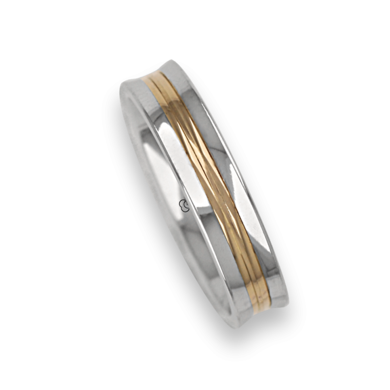 Ring / wedding ring in gold 18k two-tone white and yellow polished finish model al055524ew
