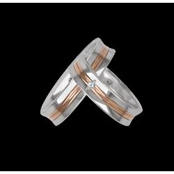 Fedi nuziali in oro bianco e rosa superficie concava con un diamante modello ap055524