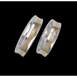 Fedi nuziali bicolore oro bianco e giallo superficie concava e lucida con un diamante modello al055524