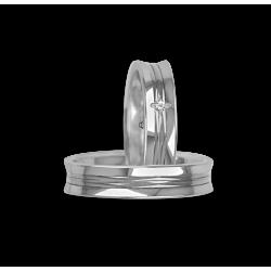Обручальные кольца в 18kt белого золота вогнутой и блестящей поверхностью с алмазным узором ab055524
