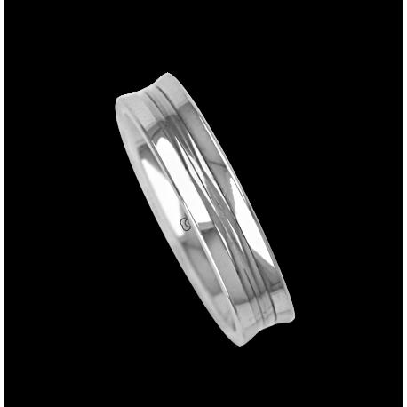 Ring / wedding ring in white gold 18k polished finish model ab055524ew