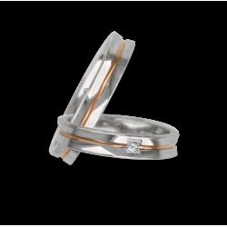 fedi nuziali in oro bianco-rosa-bianco finitura lucida con un diamante modello ap046524