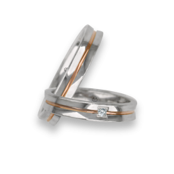 Wedding rings in white-rose-white gold polished surface one diamont model ap04652