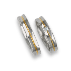 Wedding bands in white yellow white gold, polished finish holloved surface with one diamond model ap046524