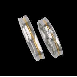 Обручальные кольца из белого и желтого белого вогнутой поверхности глянцевого золота с алмазным шаблоном ap046524