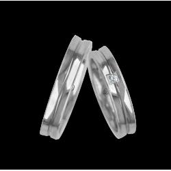Fedi nuziali oro bianco con superficie leggermente concava modello ab046524