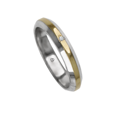 Ring / wedding ring in gold 18k two-tone white and yellow diamon point patterns finish model gl041314dw