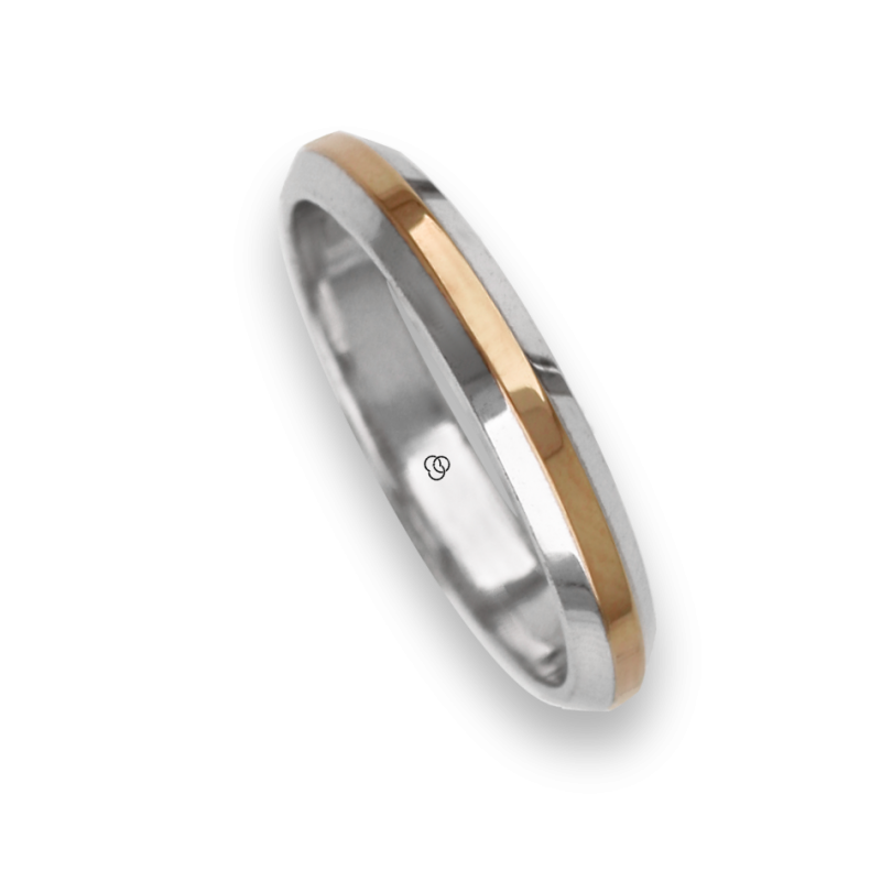 Ring / wedding ring in gold 18k two-tone white and rose model ap539524dw