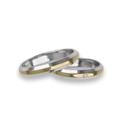 Wedding rings white yellow white gold with sloping sides one diamond model al539524