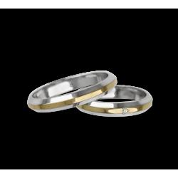 Fedi nuziali oro bianco giallo bianco con lati inclinati finitura lucida modello al539524
