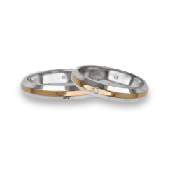 Wedding bands in white rose white gold with sloping sides one diamond model ap539524