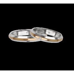 Fedi nuziali oro bianco rosa bianco superficie inclinata ai lati un diamante modello ap539524
