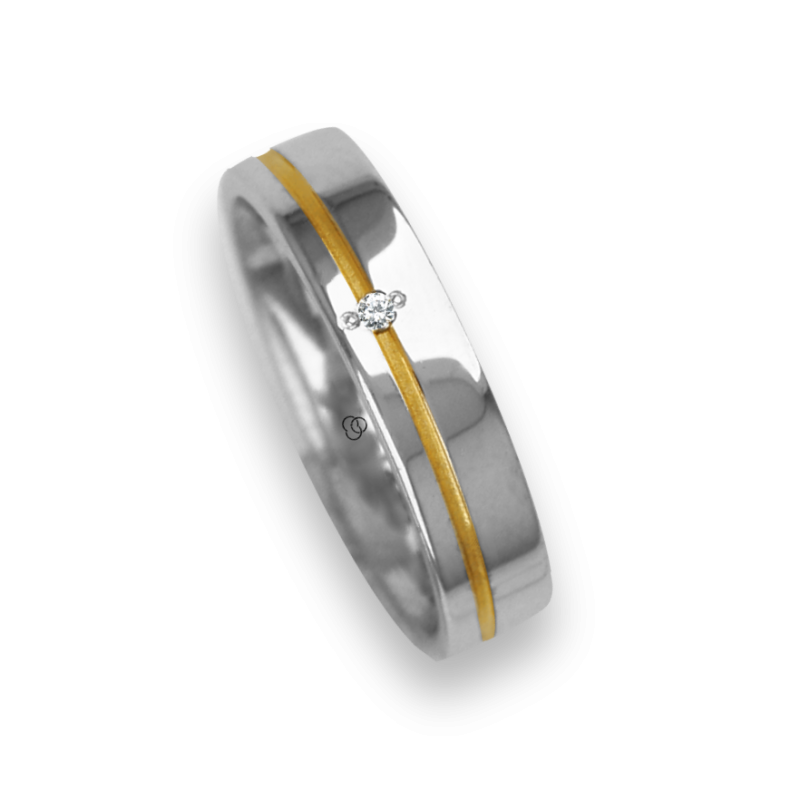 Ring / wedding ring in gold 18k two-tone white and yellow one diamond model vl540624dw