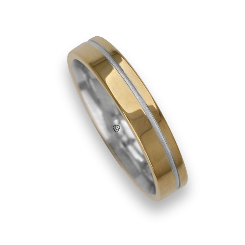 Ring / wedding ring in gold 18k two-tone yellow and white one diamond model vi540624dw